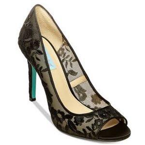 Betsy Johnson Adley mesh floral peep toe pumps